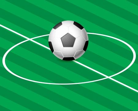 Green football field and ball. Vector illustration. Stock Vector - 16038312