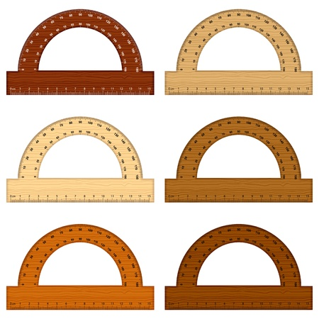 Wooden protractor on white background. Vector illustration.