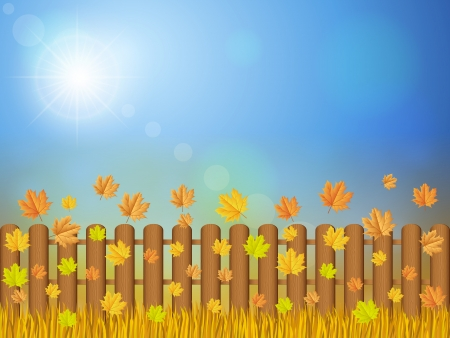 Wooden fence and autumn grass under sky. Stock Vector - 16180924