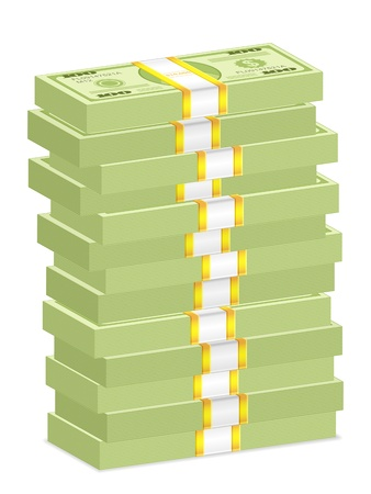 Hundreds dollar banknotes stacks on a white background. illustration. Stock Vector - 16180861