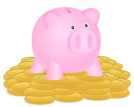 Piggybank on stack coins. illustration.  Stock Vector - 16180872