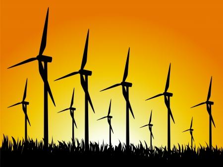 grassy field: Wind generators on a grassy field. illustration.