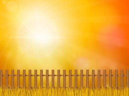 Wooden fence and autumn grass under sky. Stock Vector - 16299308