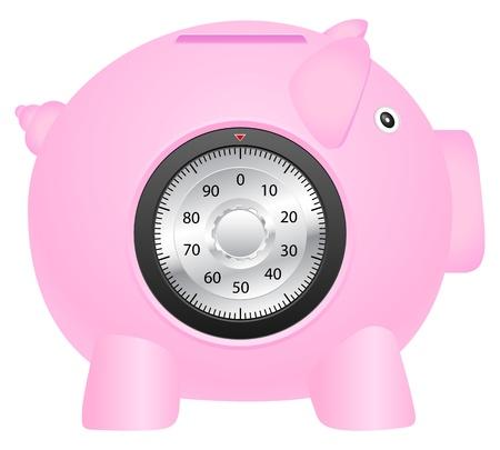 coinbank: Coinbank y cerradura de combinaci�n en un fondo blanco. Vector ilustraci�n.