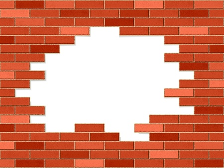 cracked wall: Crashed brick wall texture background. Vector illustration. Illustration