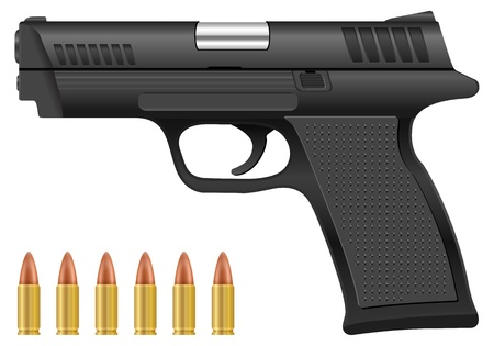 ammo: Pistol and bullets on a white background. Vector illustration.