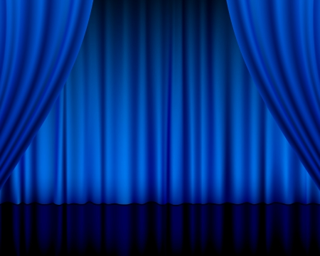 blue velvet: Close view of a blue curtain. Vector illustration.