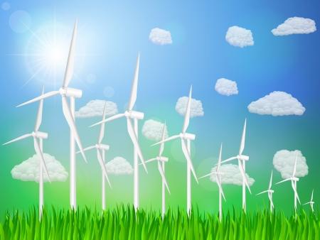 Wind generators on a grassy field Stock Vector - 16299299