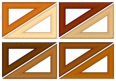 millimeter: Wooden triangle ruler set on a white background. Vector illustration.