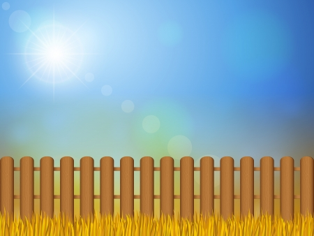 Wooden fence and autumn grass under sky. Vector