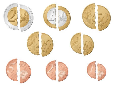 cent: Broken euro coins set isolated on a white background. Vector illustration.