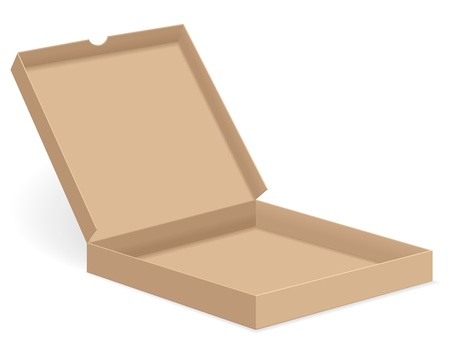 Open paper pizza box on white background. Vector illustration. Vector