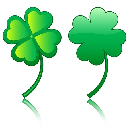 Green four leafs clover on a white background. Stock Vector - 16434245