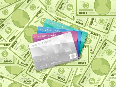 Credit cards on dollars background. Vector illustration. Vector