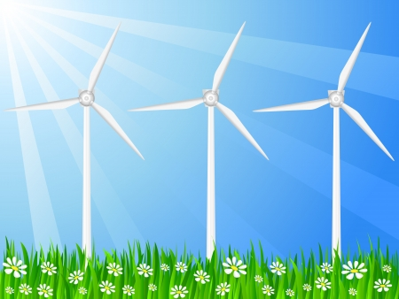 Wind generators on a grassy field. Vector illustration. Vector
