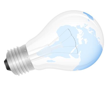wolfram: Light bulb with world map. Vector illustration. Illustration