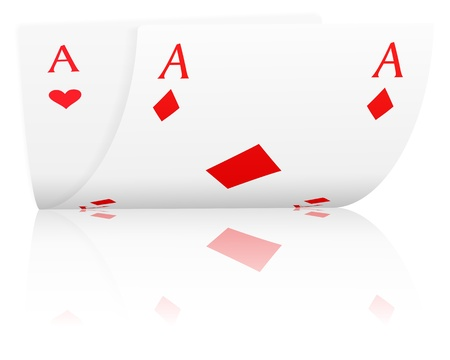 Two ace with reflection on a white background.
