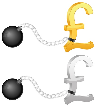 Shackles with british pound symbol on a white background. Vector