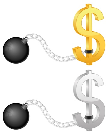 shackles: Shackles with dollar symbol on a white background.