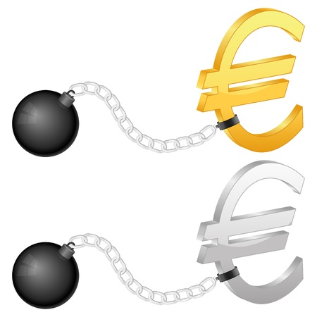 shackles: Shackles with euro symbol on a white background. Illustration