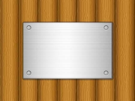 Metal plate on wooden board background. Vector illustration. Stock Vector - 16434278