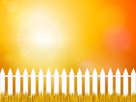 Wooden fence and autumn grass under sky. Stock Vector - 16529051