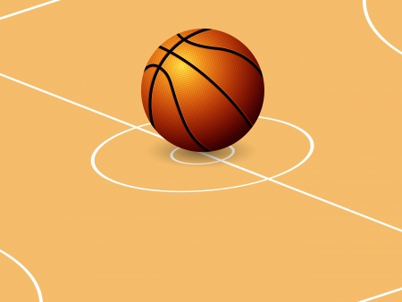 Basketball ball on court background. Vector illustration. Vector