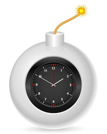 bombing: Bomb with clock on a white background. Vector illustration. Illustration