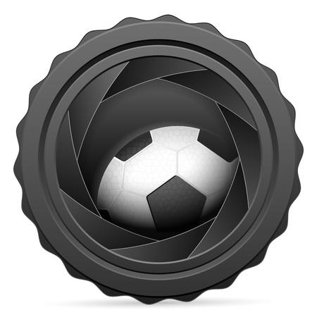 Camera shutter with soccer ball on white background. Vector illustration. Vector