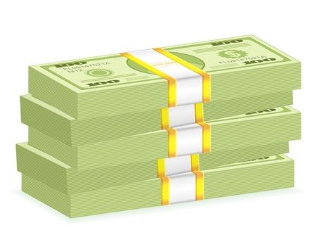 wad: Hundreds dollar banknotes stack on a white background. Vector illustration.