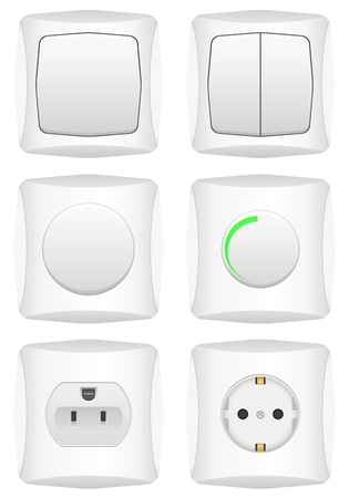 Electric switch set on a white background. Vector illustration. Stock Vector - 16529030