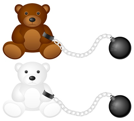 shackles: Shackles with teddy bear on a white background.