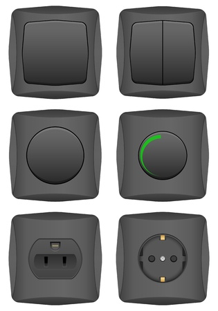 Electric switch set on a white background. Vetores
