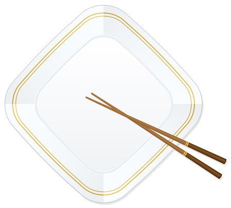 Empty white plate with chopsticks. Stock Vector - 16641954