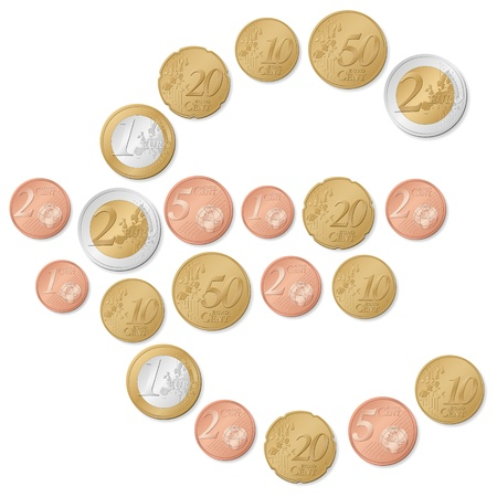 cent: Euro symbol formed by euro coins on a white background.