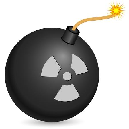 bombing: Zwarte bom met het branden van zekering op een witte achtergrond.
