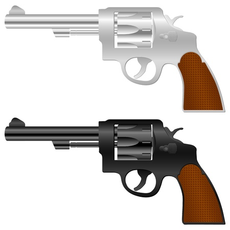 weapons: Revolver set on a white background.