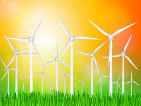 grassy field: Wind generators on a grassy field.  Illustration