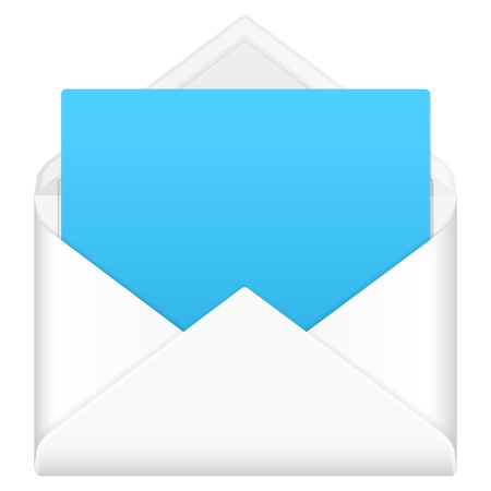 envelope: Envelope mail with notepad sheet on a white background.