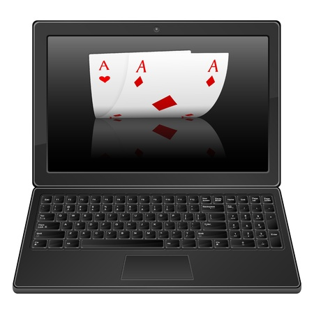 Laptop with poker aces on a white background. Vector