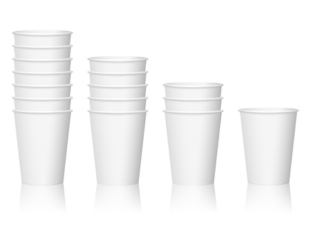 Paper coffee cups on a white background. Vector