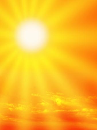 Dramatic orange sky and sunbeam