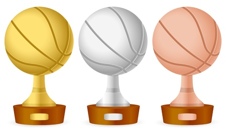 Basketball trophy set on white background  Vector