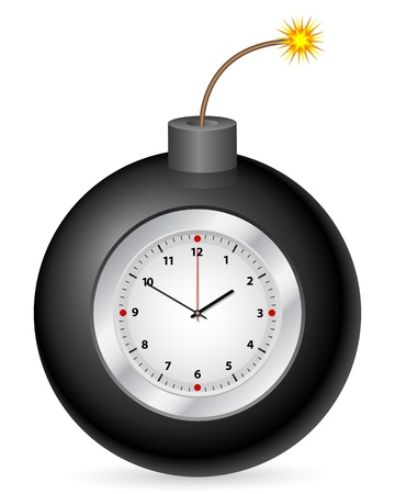 Bomb with clock on a white background   Illustration