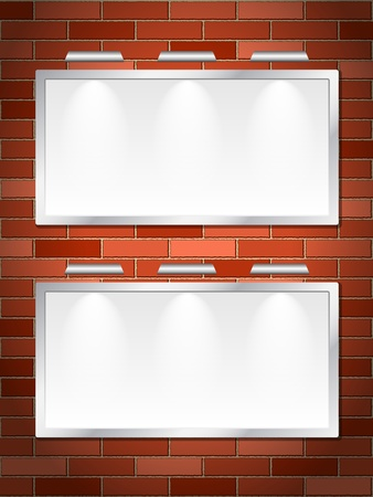 Blank billboards on a brick wall Stock Vector - 17163066