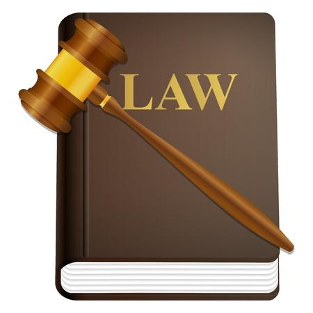 Law Buch und Hammer auf einem weißen Hintergrund.