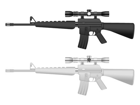carbine: M16 set on a white background.  Illustration