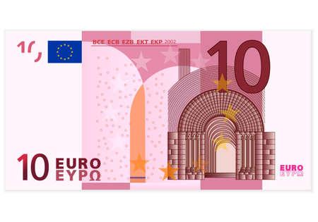 dinero euros: Diez de billetes en euros en un fondo blanco
