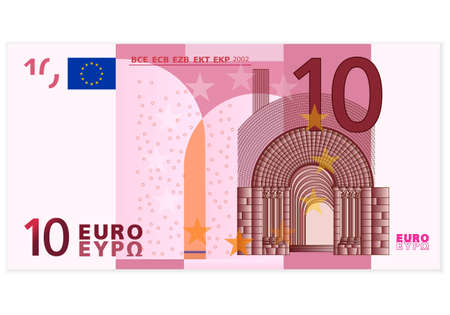 bill payment: Ten euro banknote on a white background  Illustration