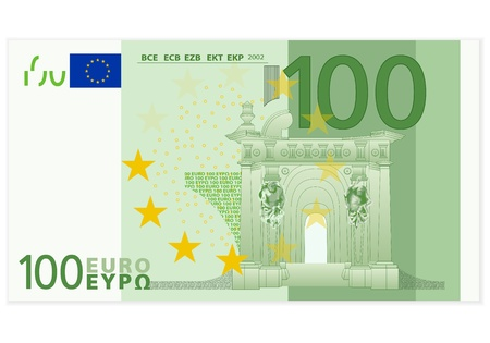 1 euro: One hundred euro banknote on a white background  Illustration